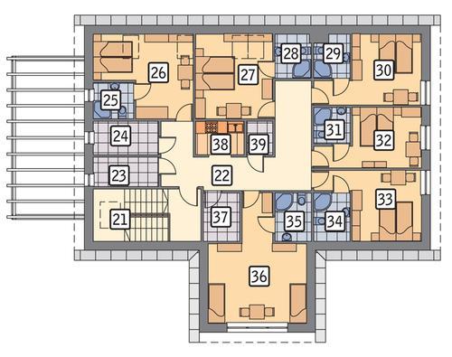 Rzut poddasza POW. 174,6 m²