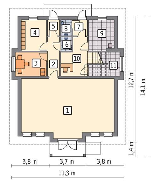 Rzut parteru POW. 99,0 m²