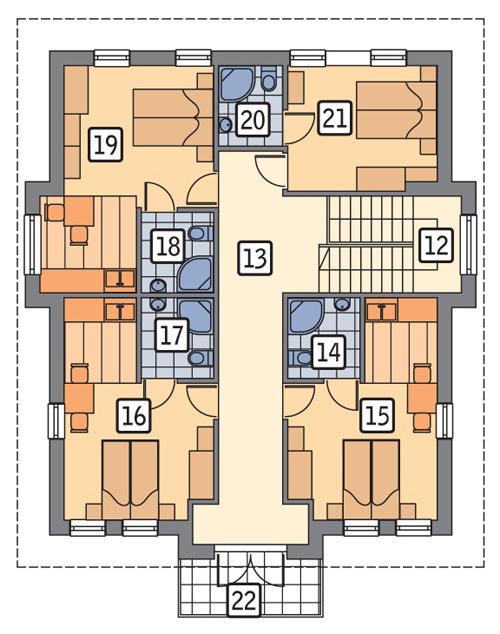 Rzut piętra POW. 106,6 m²