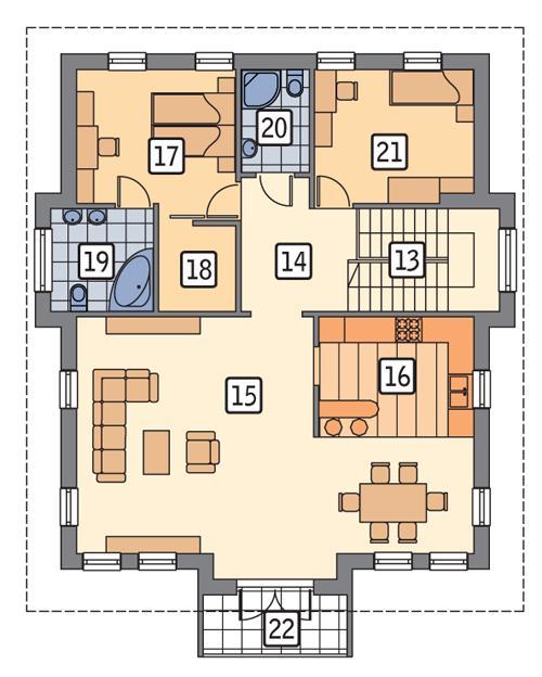 Rzut piętra POW. 107,0 m²