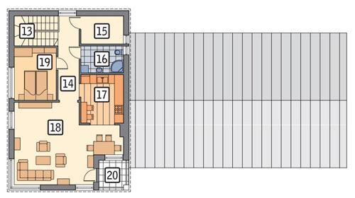 Rzut piętra POW. 76,2 m²