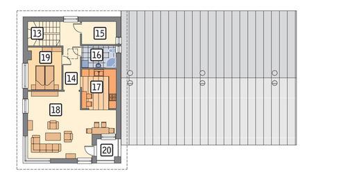 Rzut piętra POW. 76,4 m²