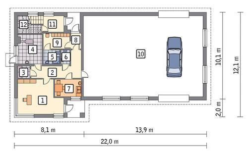 Rzut parteru POW. 192,9 m²