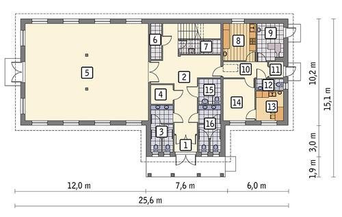 Rzut parteru POW. 226,8 m²
