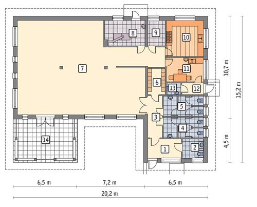 Rzut parteru POW. 201,6 m²