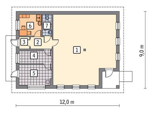 Rzut parteru POW. 84,3 m²