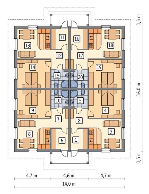 Rzut parteru POW. 187,8 m²