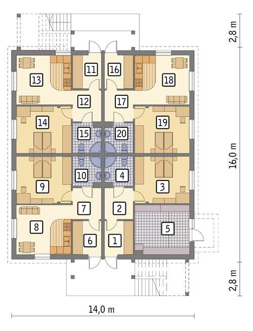 Rzut parteru POW. 182,2 m²