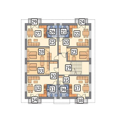 Rzut piętra POW. 193,9 m²
