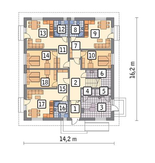 Rzut parteru POW. 182,4 m²