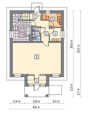 RZUT PARTERU POW. 71,8 m²