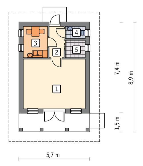 Rzut parteru POW. 31,8 m²