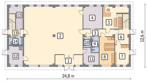 Rzut parteru POW. 260,5 m²