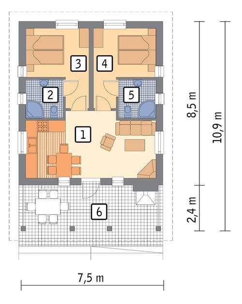 Rzut parteru POW. 49,0 m²