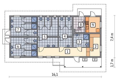 Rzut parteru POW. 94,1 m²