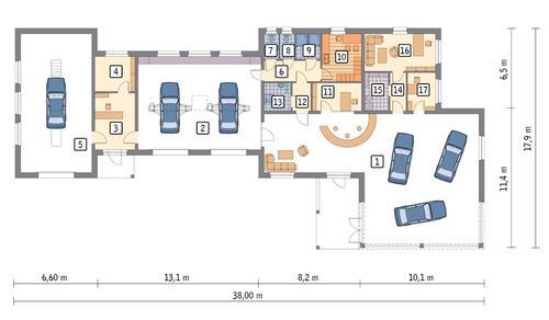 Rzut parteru POW. 378,8 m²