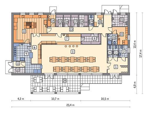 Rzut parteru POW. 287,7 m²