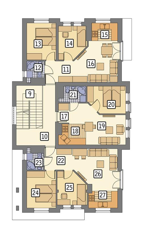 Rzut piętra: piętro I POW. 152,5 m²
