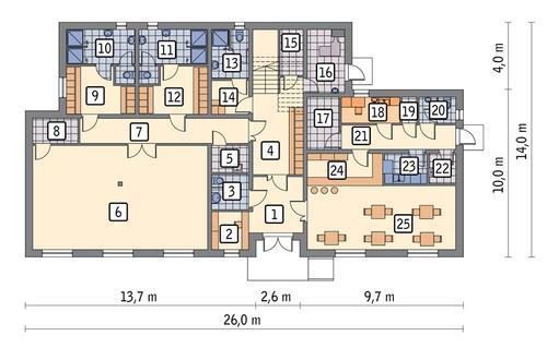 Rzut parteru POW. 255,2 m²