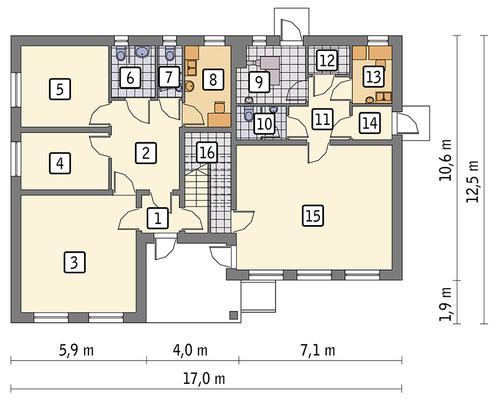 Rzut parteru POW. 140,3 m²