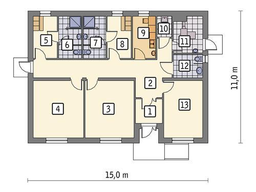 Rzut parteru POW. 127,9 m²
