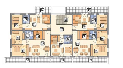 Rzut piętra POW. 329,0 m²