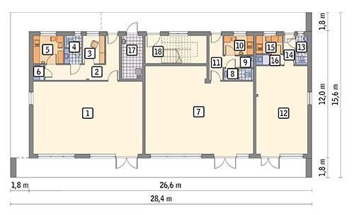 Rzut parteru POW. 266,5 m²
