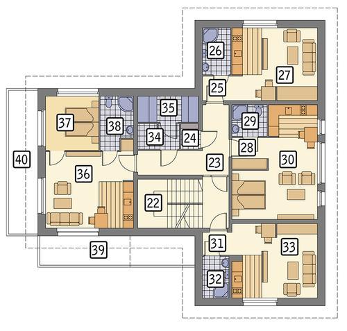 Rzut piętra POW. 187,0 m²
