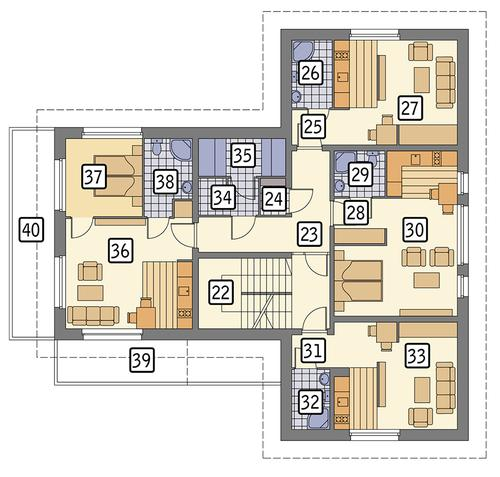 Rzut piętra POW. 187,1 m²
