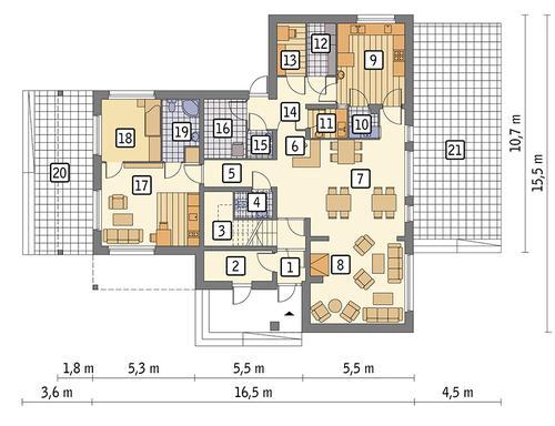 Rzut parteru POW. 159,2 m²
