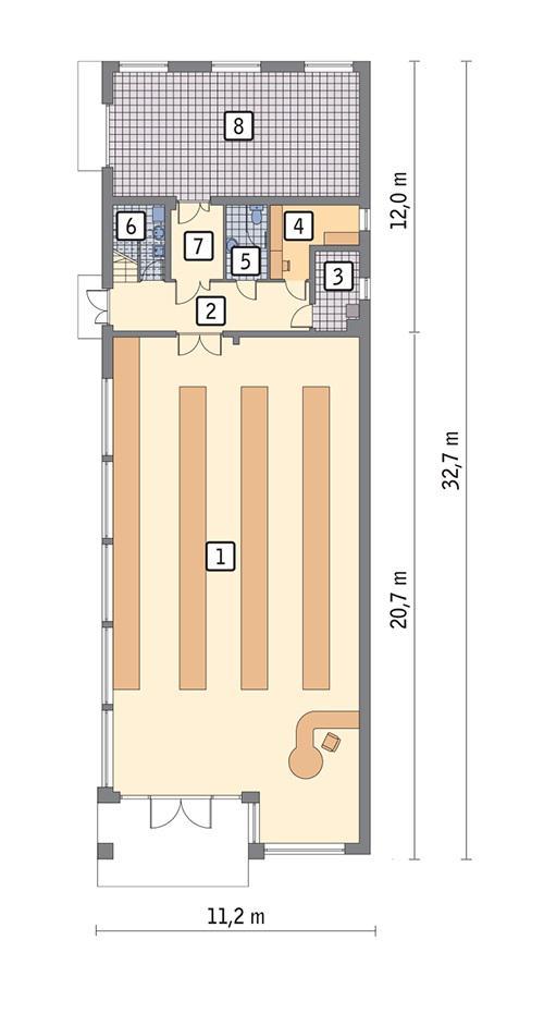 Rzut parteru POW. 294,7 m²