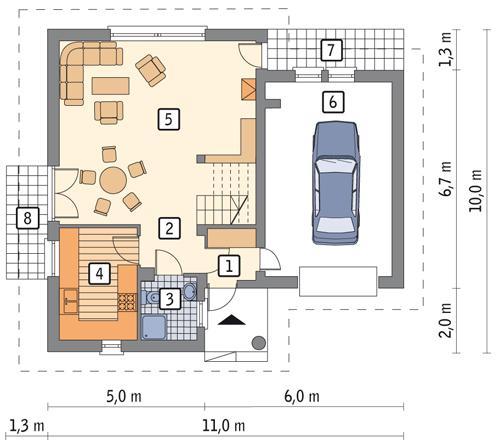 Rzut parteru POW. 72,6 m²