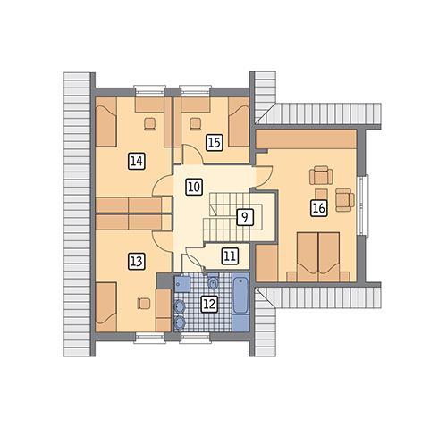 Rzut poddasza POW. 77,2 m²