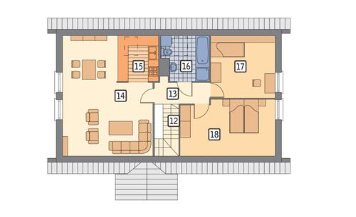 Rzut poddasza: II etap realizacji (58,1 m2 powierzchni użytkowej)