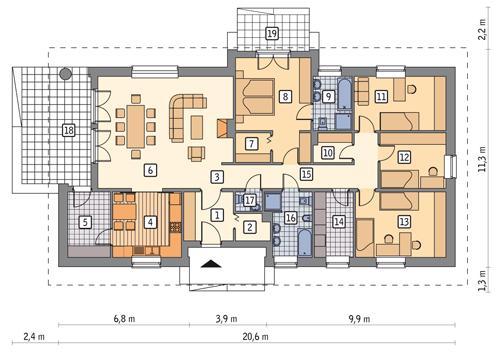Rzut parteru POW. 163,6 m²