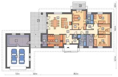 Rzut parteru POW. 221,7 m²