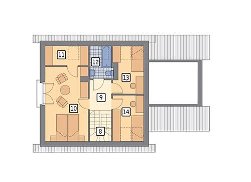 Rzut poddasza POW. 53,8 m²