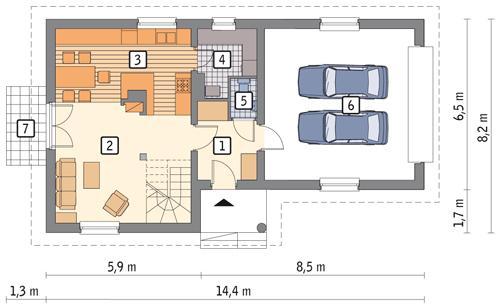 Rzut parteru: wariant POW. 82,7 m²