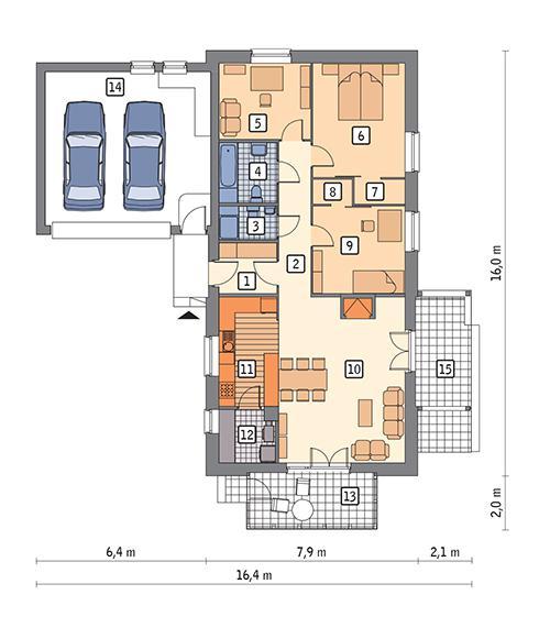 Rzut parteru POW. 135,3 m²