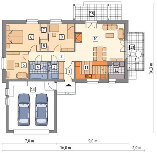 Rzut parteru: wariant 1 POW. 0,0 m²