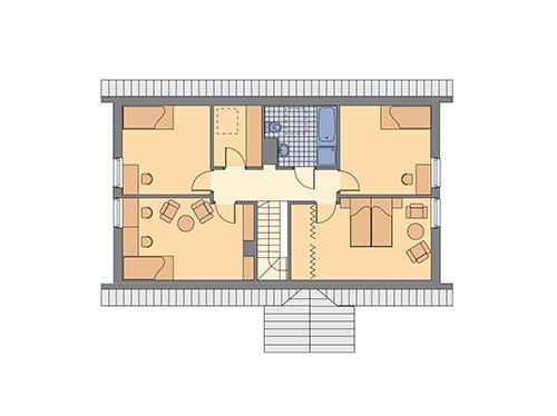 Rzut poddasza: II etap realizacji (57,4 m2 powierzchni użytkowej)