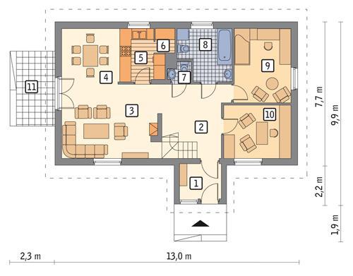 Rzut parteru POW. 84,4 m²