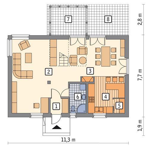 Rzut parteru POW. 69,6 m²