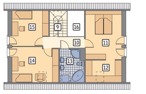 Rzut poddasza POW. 65,7 m²