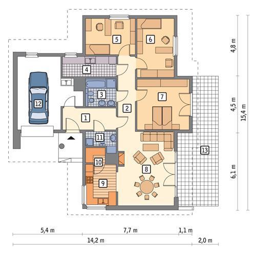 Rzut parteru POW. 131,3 m²