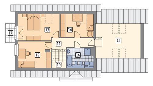 Rzut poddasza POW. 99,9 m²