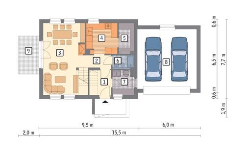Rzut parteru POW. 91,0 m²
