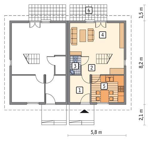 Rzut parteru POW. 34,2 m²
