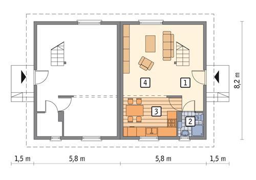 Rzut parteru POW. 35,4 m²